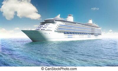 blauwe , lijntoestel, zee, cruise
