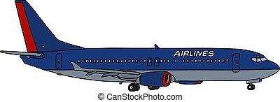 blauwe , lijnvliegtuig, straalvliegtuig