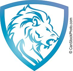 blauwe , logo, leeuw, schild