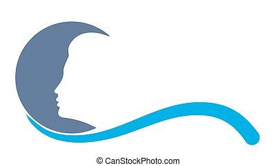 blauwe , logo., maan