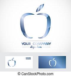 blauwe , logo, metaal, appel, 3d