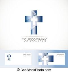 blauwe , logo, metaal, kruis, 3d