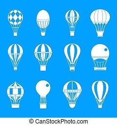 blauwe , lucht, set, ballon, pictogram