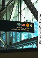 blauwe , luchthaven, venster, meldingsbord