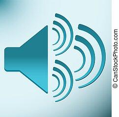 blauwe , luide spreker, drie, trilling