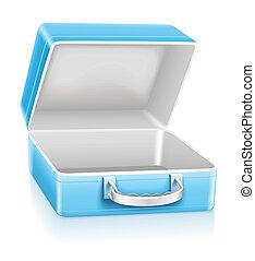 blauwe , lunchen doos, lege