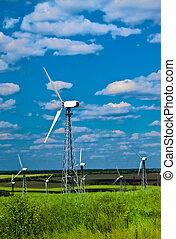 blauwe , macht, -, turbines, tegen, station, groen gras, wind hemel