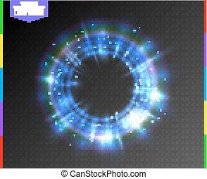 blauwe , magisch, kleurrijk licht, abstract, neon, effect, het fonkelen, transparant, schijnwerper, achtergrond., gloeiend, spark., portaal, doorschijnend, semitransparent, ring, lijn, bijzondere , gloed