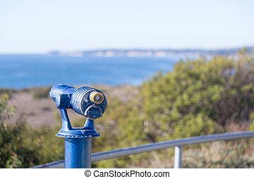 blauwe , malibu, telescoop, kust