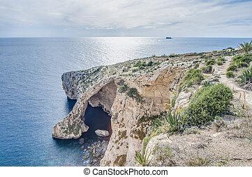 blauwe , malta., kust, zuidelijk, grot