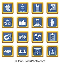 blauwe , management, hulpbron, iconen, set, menselijk
