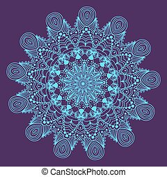 blauwe , mandala, ornament, ronde