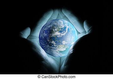 blauwe , mannen, planeet, achtergrond., black , holdingshanden, aarde, gloed