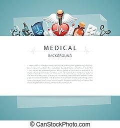 blauwe , medisch, kopie, achtergrond, ruimte