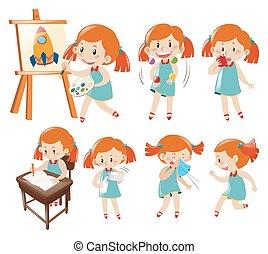 blauwe , meisje, anders, weinig; niet zo(veel), acties