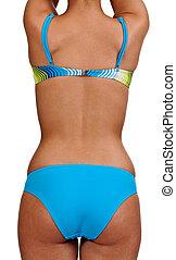 blauwe , meisje, back, swimsui