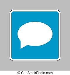 blauwe, meldingsbord, achtergrond, toespraak, pictogram, bel, witte, pictogram