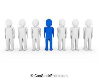 blauwe , menselijk, stander, menigte, 3d
