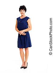 blauwe , middelbare , jurkje, vrouw, oud