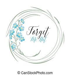 blauwe , mij, vergeten, vector, niet, bloemen
