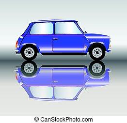 blauwe , mini, auto