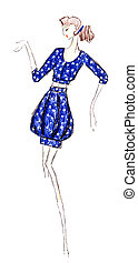 blauwe , mini, kort, polka punten, jurkje