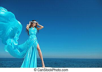 blauwe , mode, hemel, enjoyment., op, outdoors., vrouw, brunette, blazen, meisje, jurkje, model