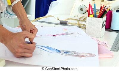 blauwe , mode, jurkje, schetsen, ontwerper