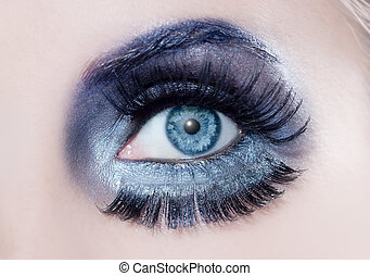 blauwe , mode, oog, winter, macro, makeup, closeup, black