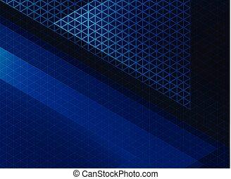 blauwe , model, abstract, donker, achtergrond., technologie, driehoeken