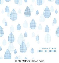 blauwe , model, abstract, regen, textiel, achtergrond, hoek, druppels, frame