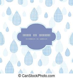 blauwe , model, abstract, seamless, regen, textiel, achtergrond, druppels, frame