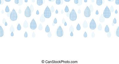 blauwe , model, abstract, seamless, regen, textiel, achtergrond, horizontaal, druppels