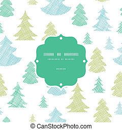 blauwe , model, frame, seamless, bomen, textiel, silhouettes, groene achtergrond, kerstmis