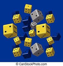 blauwe , model, grijze , gele, dobbelsteen
