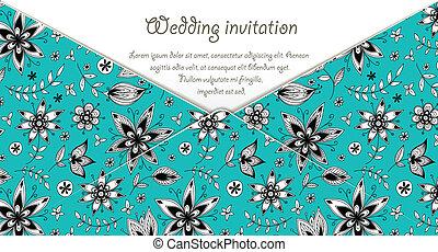 blauwe , model, huwelijk uitnodiging, floral, kaart