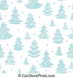 blauwe , model, seamless, bomen, textiel, silhouettes, achtergrond, verfraaide, kerstmis