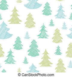 blauwe , model, seamless, bomen, textiel, silhouettes, groene achtergrond, kerstmis