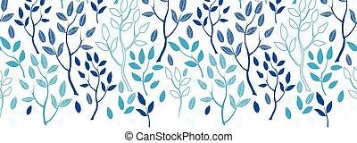 blauwe , model, seamless, vector, bos, achtergrond, horizontaal, grens