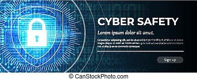 blauwe , moderne, cyber, achtergrond., vector., safety.