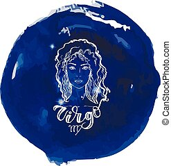 blauwe , moderne, meldingsbord, watercolor, achtergrond, letteri, astrologie