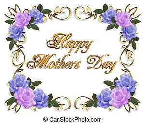 blauwe , moeders, lavendel, rozen, dag, kaart