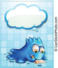 blauwe , monster, callout, schrijvende , wolk, lege