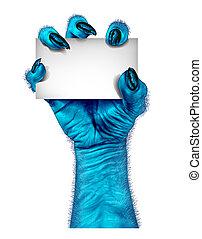blauwe , monster, hand