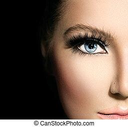 blauwe , mooi, beauty, makeup, gezicht, deel, closeup, eyes.