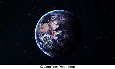 blauwe , mooi, communie, gemeubileerd, avond lucht, wolken, achtergrond, gloeiend, sterretjes, horizon., vredig, aarde, nasa