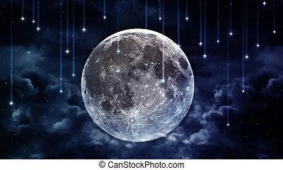 blauwe , mooi, communie, gemeubileerd, maan, avond lucht, wolken, achtergrond, gloeiend, sterretjes, horizon., vredig, nasa
