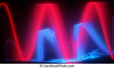 blauwe , motie, lijnen, rode achtergrond
