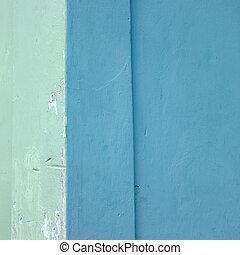 blauwe muur, groene