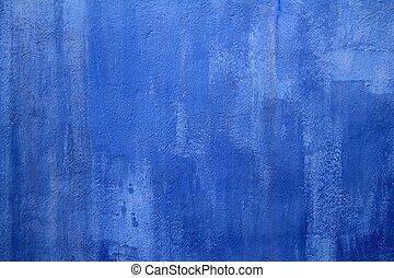 blauwe muur, grunge, textuur, achtergrond